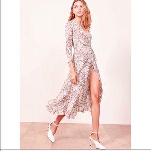 REFORMATION Python Print Long Sleeve Midi Dress
